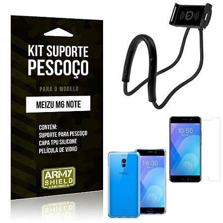 Kit Suporte Pescoço Meizu M6 Note Suporte + Capa + Película de Vidro - Armyshield