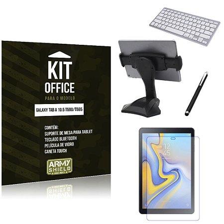 Kit Office Samsung Galaxy Tab A 10.5' T590/T595 Suporte Mesa + Teclado Bluetooth + Película + Caneta - Armyshield