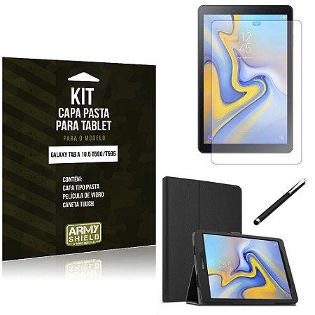 Kit Galaxy Tab A 10.5 T590/T595 Capa Pasta + Película de Vidro + Caneta Touch - Armyshield