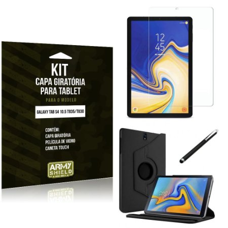 Kit Capa Giratória Galaxy Tab S4 10.5 T835/T830 Capa Giratória + Película de Vidro + Caneta Touch - Armyshield