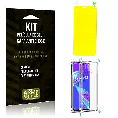 Kit Asus Zenfone Max Pro M2 ZB631KL Capa Anti Shock + Película de Gel - Armyshield