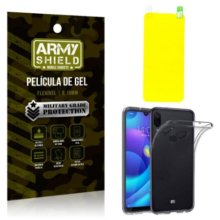 Kit Tpu Xiaomi Redmi Note 7 /Note 7 Pro Capa Silicone + Película de Gel - Armyshield