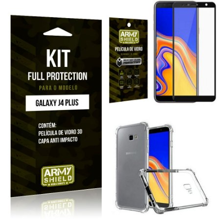 Kit Full Protection Samsung J4 PLUS Capa Anti Impacto + Película de Vidro 3D - Armyshield