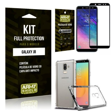 Kit Full Protection Samsung J8 Capa Anti Impacto + Película de Vidro 3D - Armyshield