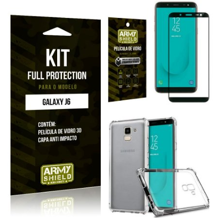 Kit Full Protection Samsung J6 Capa Anti Impacto + Película de Vidro 3D - Armyshield