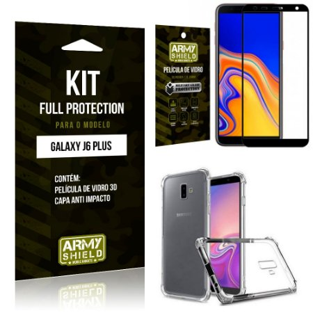 Kit Full Protection Samsung J6 PLUS Capa Anti Impacto + Película de Vidro 3D - Armyshield