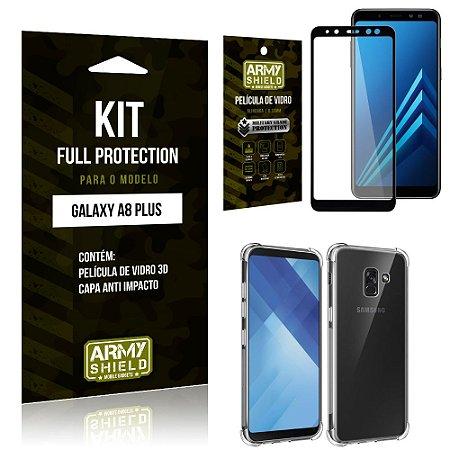 Kit Full Protection Samsung A8 PLUS Capa Anti Impacto + Película de Vidro 3D - Armyshield