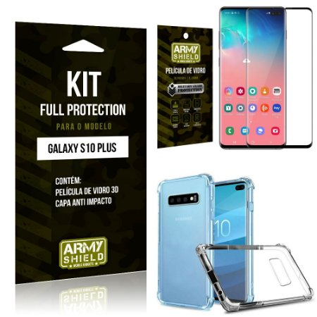 Kit Full Protection Samsung S10 Plus Capa Anti Impacto + Película de Vidro 3D - Armyshield