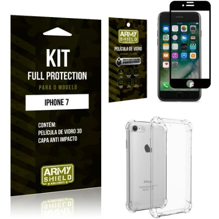 Kit Full Protection Iphone 7G  Capa Anti Impacto + Película de Vidro 3D - Armyshield