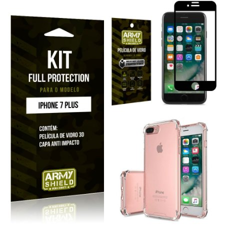 Kit Full Protection Iphone 7G PLUS Capa Anti Impacto + Película de Vidro 3D - Armyshield