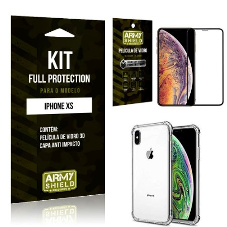 Kit Full Protection Iphone XS Capa Anti Impacto + Película de Vidro 3D - Armyshield