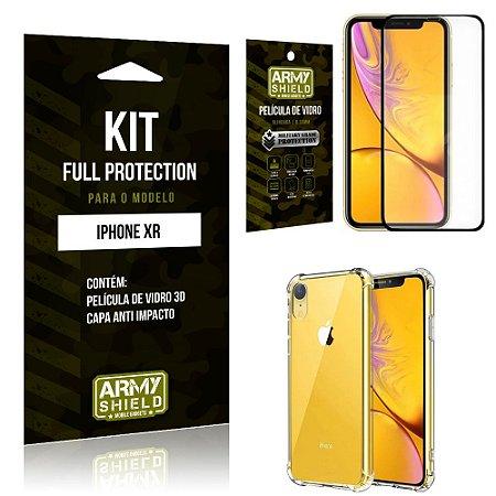 Kit Full Protection Iphone XR Capa Anti Impacto + Película de Vidro 3D - Armyshield