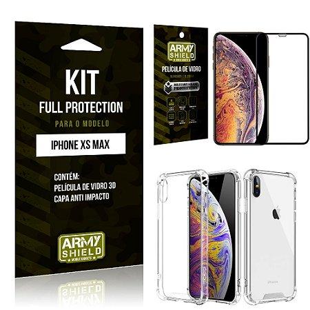 Kit Full Protection Iphone XS MAX Capa Anti Impacto + Película de Vidro 3D - Armyshield