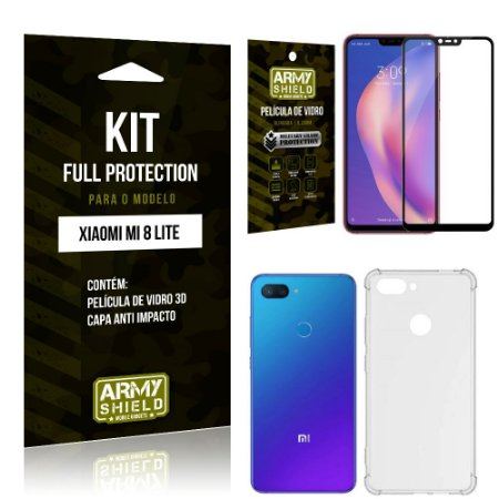 Kit Full Protection Xiaomi MI 8 LITE Capa Anti Impacto + Película de Vidro 3D - Armyshield