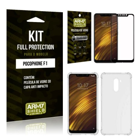 Kit Full Protection Xiaomi POCOFONE F1 Capa Anti Impacto + Película de Vidro 3D - Armyshield