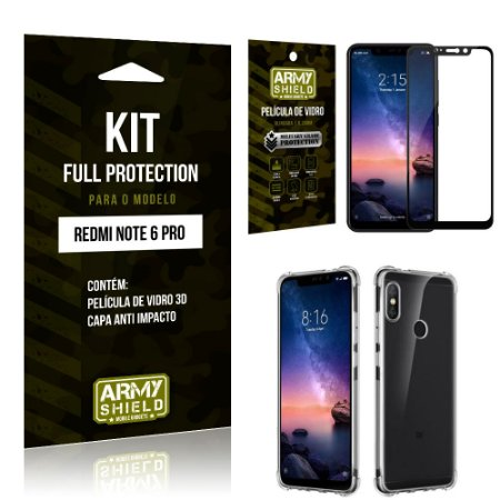 Kit Full Protection Xiaomi NOTE 6 PRO Capa Anti Impacto + Película de Vidro 3D - Armyshield
