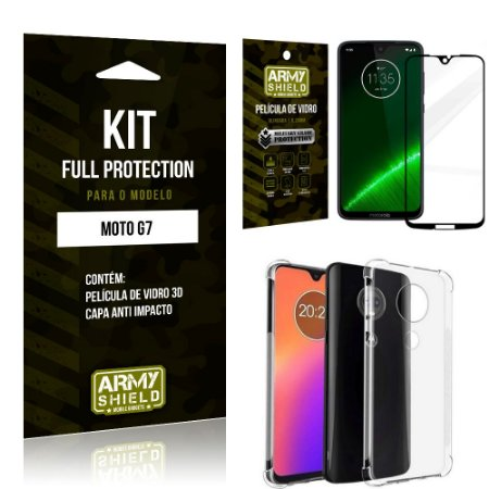 Kit Full Protection Motorola MOTO G7 Capa Anti Impacto + Película de Vidro 3D - Armyshield