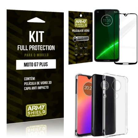 Kit Full Protection Motorola MOTO G7 PLUS Capa Anti Impacto + Película de Vidro 3D - Armyshield