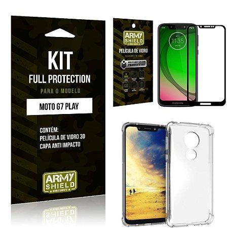 Kit Full Protection Motorola MOTO G7 PLAY Capa Anti Impacto + Película de Vidro 3D - Armyshield