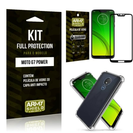 Kit Full Protection Motorola MOTO G7 POWER Capa Anti Impacto + Película de Vidro 3D - Armyshield