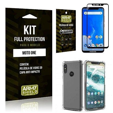 Kit Full Protection Motorola MOTO ONE Capa Anti Impacto + Película de Vidro 3D - Armyshield