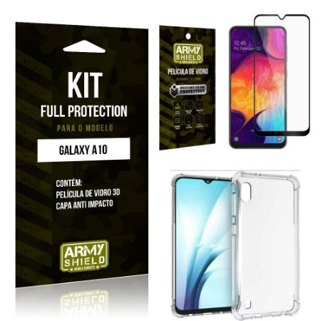 Kit Full Protection Samsung A10 Capa Anti Impacto + Película de Vidro 3D - Armyshield
