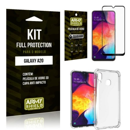 Kit Full Protection Samsung A20 Capa Anti Impacto + Película de Vidro 3D - Armyshield