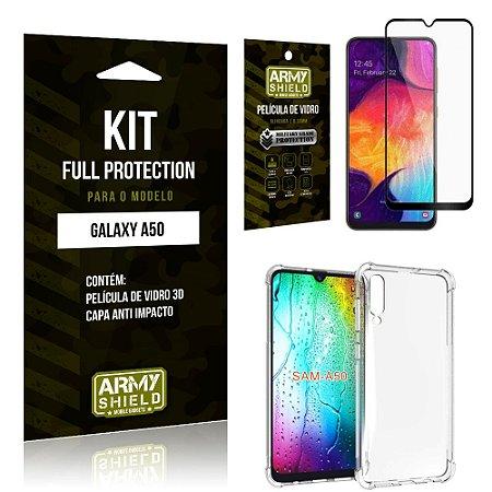 Kit Full Protection Samsung A50 Capa Anti Impacto + Película de Vidro 3D - Armyshield