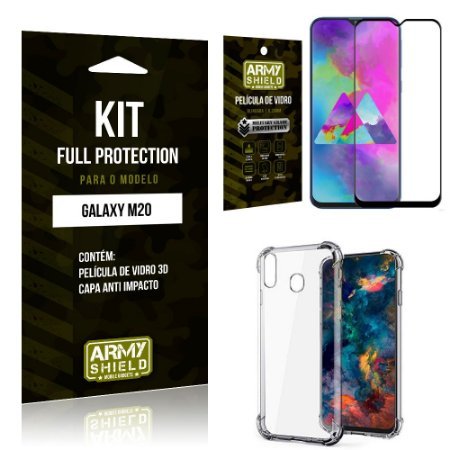 Kit Full Protection Samsung M20 Capa Anti Impacto + Película de Vidro 3D - Armyshield