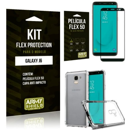 Kit Flex Protection Samsung J6 Capa Anti Impacto + Película Flex 5D - Armyshield
