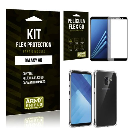 Kit Flex Protection Samsung A8 Capa Anti Impacto + Película Flex 5D - Armyshield