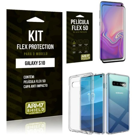 Kit Flex Protection Samsung S10 Capa Anti Impacto + Película Flex 5D - Armyshield