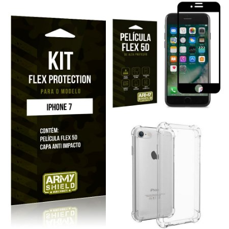 Kit Flex Protection Iphone 7G Capa Anti Impacto + Película Flex 5D - Armyshield