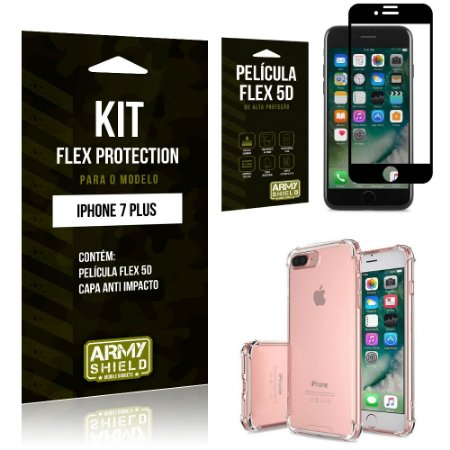 Kit Flex Protection Iphone 7G PLUS Capa Anti Impacto + Película Flex 5D - Armyshield