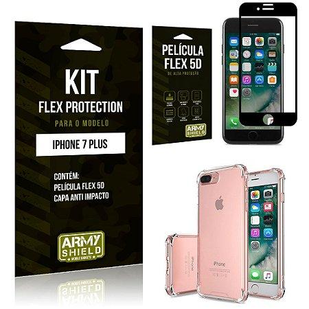 Kit Flex Protection Iphone 7G PLUS Capa Anti Impacto + Película Flex 5D - Armyshield