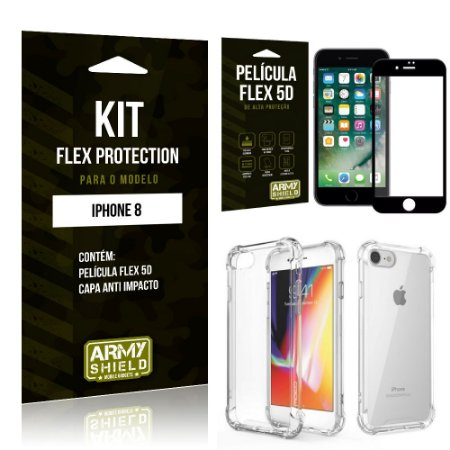 Kit Flex Protection Iphone 8G Capa Anti Impacto + Película Flex 5D - Armyshield