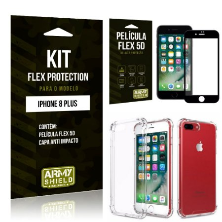 Kit Flex Protection Iphone 8G PLUS Capa Anti Impacto + Película Flex 5D - Armyshield
