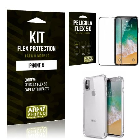 Kit Flex Protection Iphone X Capa Anti Impacto + Película Flex 5D - Armyshield