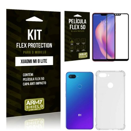 Kit Flex Protection Xiaomi MI 8 LITE Capa Anti Impacto + Película Flex 5D - Armyshield