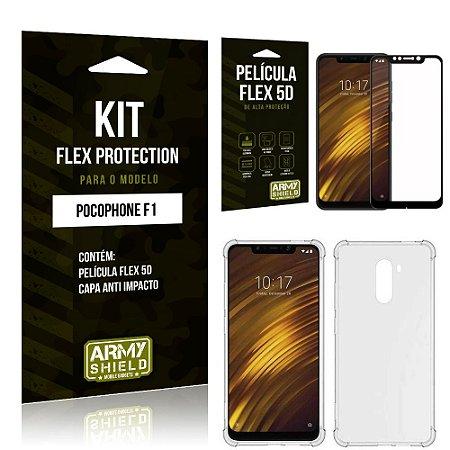 Kit Flex Protection Xiaomi POCOFONE F1 Capa Anti Impacto + Película Flex 5D - Armyshield