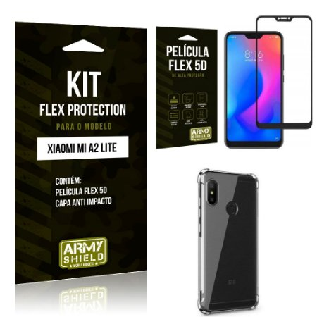 Kit Flex Protection Xiaomi MI A2 LITE Capa Anti Impacto + Película Flex 5D - Armyshield