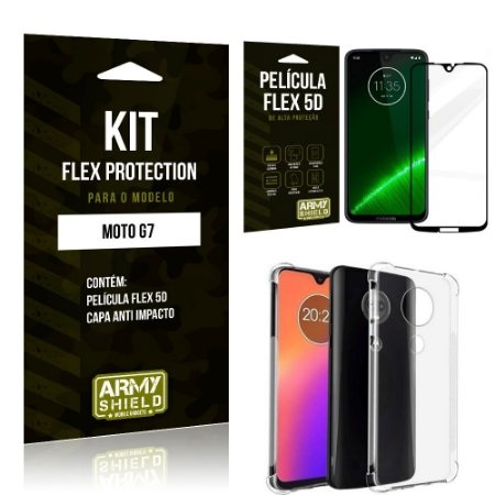 Kit Flex Protection Motorola MOTO G7 Capa Anti Impacto + Película Flex 5D - Armyshield