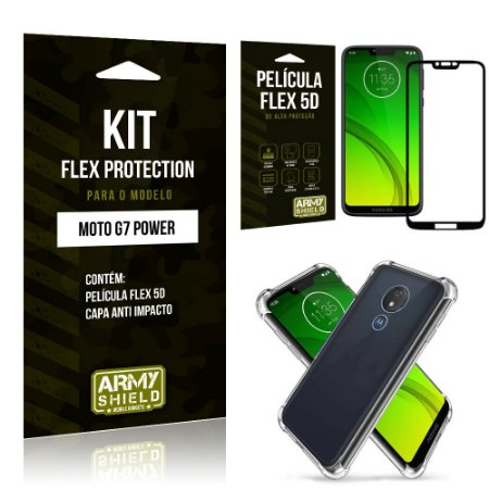 Kit Flex Protection Motorola MOTO G7 POWER Capa Anti Impacto + Película Flex 5D - Armyshield