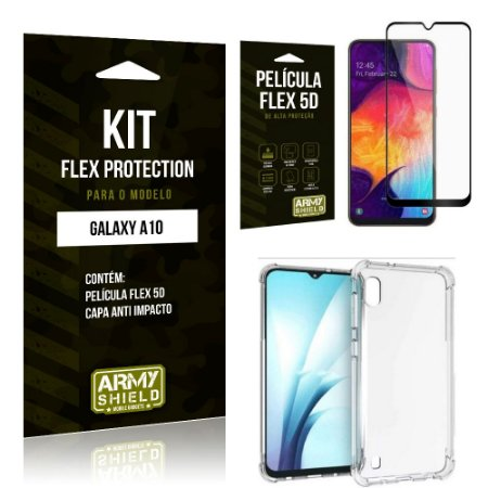 Kit Flex Protection Samsung A10 Capa Anti Impacto + Película Flex 5D - Armyshield