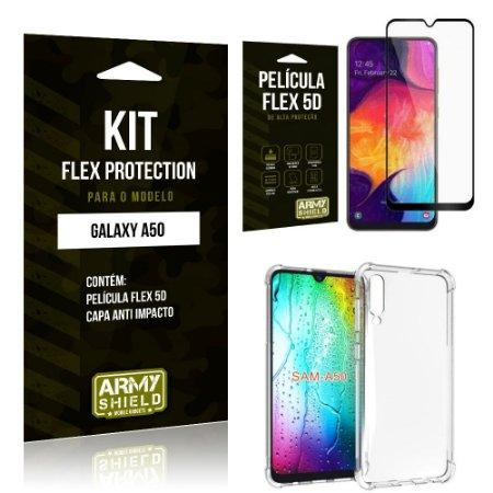 Kit Flex Protection Samsung A50 Capa Anti Impacto + Película Flex 5D - Armyshield