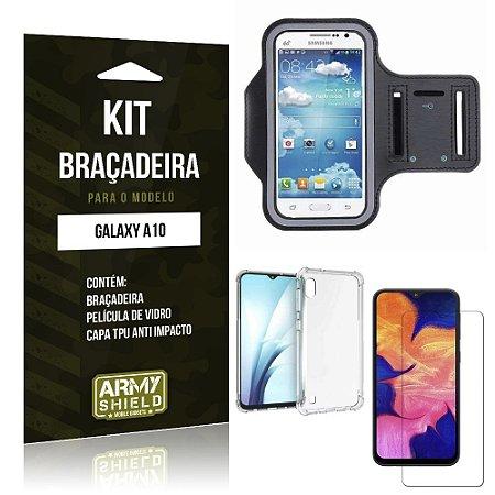 Kit Braçadeira Galaxy A10 Braçadeira + Capinha Anti Impacto + Película de Vidro - Armyshield