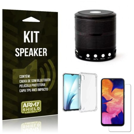 Kit Mini Speaker Galaxy A10 Caixa de Som Bluetooth + Capinha Anti Impacto + Película - Armyshield