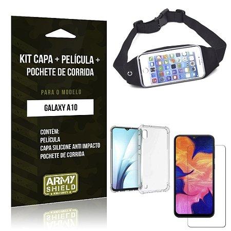 Kit Pochete Galaxy A10 Pochete + Capinha Anti Impacto + Película de Vidro - Armyshield