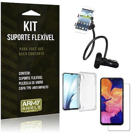 Kit Suporte Flexível Galaxy A10 Suporte + Capinha Anti Impacto + Película de Vidro - Armyshield