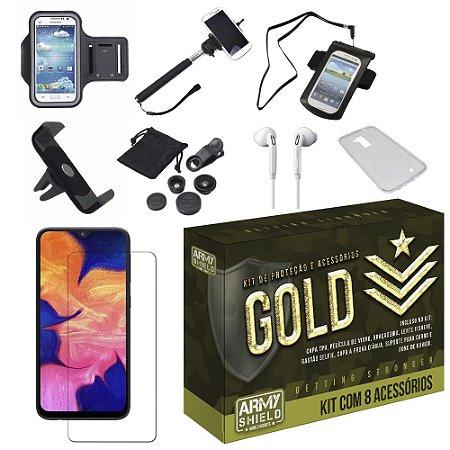 Kit Gold Galaxy A10 com 8 Acessórios - Armyshield